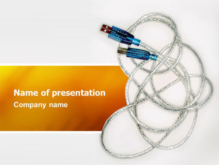 USB Cable PowerPoint Template, 02784, Technology and Science — PoweredTemplate.com