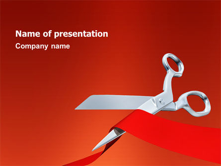 Holiday/Special Occasion: Cutting Red Tape PowerPoint Template #02829