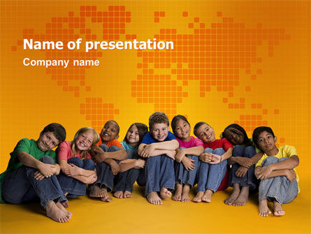 People: Kids On the Orange World Background PowerPoint Template #02838