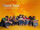 Kids On the Orange World Background PowerPoint Template#20