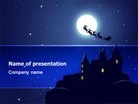 Holiday/Special Occasion: Santa's Sleigh On The Background Of The Moon PowerPoint Template #02850