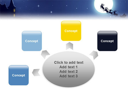 Santa's Sleigh On The Background Of The Moon PowerPoint Template Slide 7