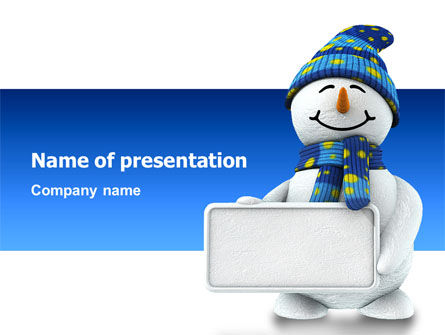 Holiday/Special Occasion: Smiling Snowman PowerPoint Template #02857
