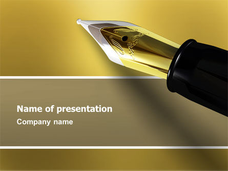 Fountain Pen On The Light Gold PowerPoint Template