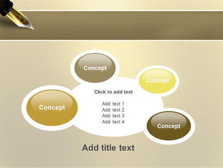 Fountain Pen On The Light Gold PowerPoint Template Slide 16