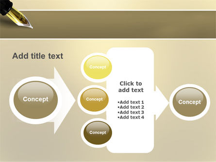 Fountain Pen On The Light Gold PowerPoint Template Slide 17