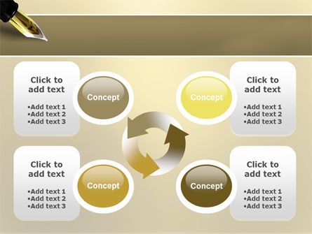 Fountain Pen On The Light Gold PowerPoint Template Slide 9