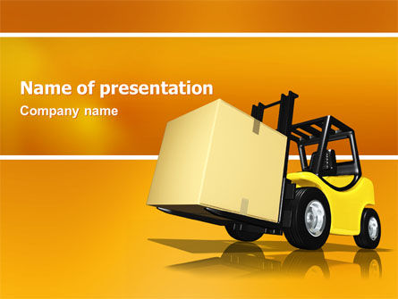 Cars and Transportation: Yellow Loader PowerPoint Template #02863