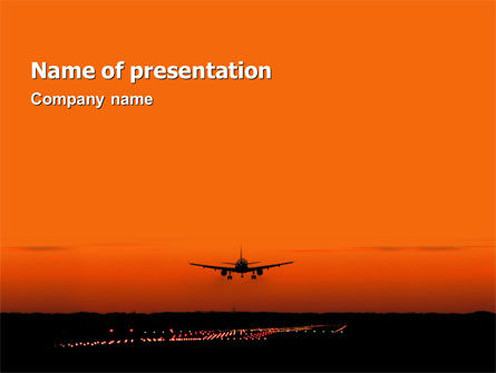Cars and Transportation: Landing Strip PowerPoint Template #02871