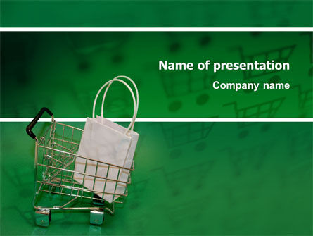 Shopping Cart With White Bag PowerPoint Template, 02878, Careers/Industry — PoweredTemplate.com