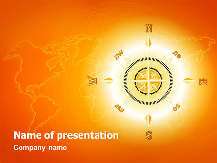 Global: Wind Rose In Orange Color PowerPoint Template #02879