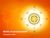 Wind Rose In Orange Color PowerPoint Template#1