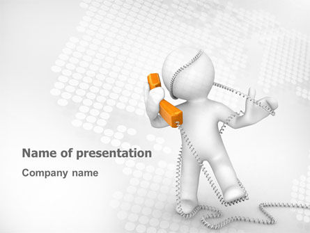 Telecommunication: Orange Telephone PowerPoint Template #02951