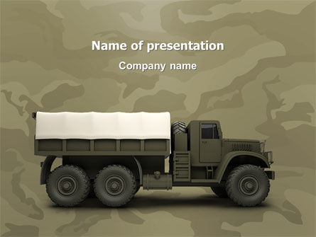 Military Truck PowerPoint Template, 02962, Military — PoweredTemplate.com