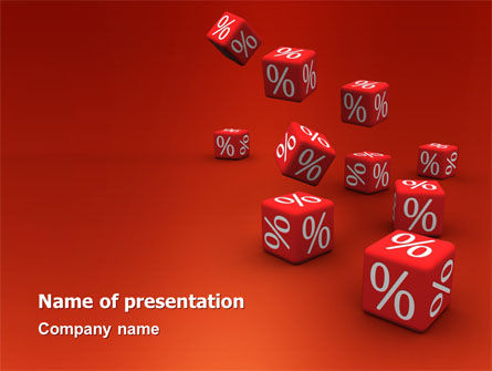 Financial/Accounting: Red Percent Cubes PowerPoint Template #02987