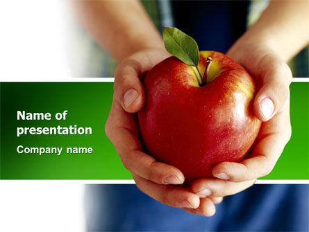Apple In Hands PowerPoint Template, 02992, Agriculture — PoweredTemplate.com