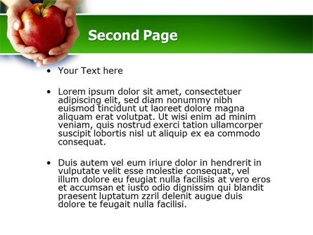 Apple In Hands PowerPoint Template, Slide 2, 02992, Agriculture — PoweredTemplate.com