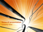 Telecommunication: Wires On Orange Background PowerPoint Template #02998