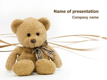 Teddy Bear On A White Background PowerPoint Template, 02999, Holiday/Special Occasion — PoweredTemplate.com