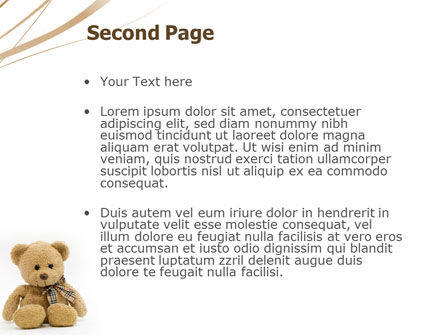 Teddy Bear On A White Background PowerPoint Template, Slide 2, 02999, Holiday/Special Occasion — PoweredTemplate.com