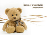 Holiday/Special Occasion: Teddy Bear On A White Background PowerPoint Template #02999