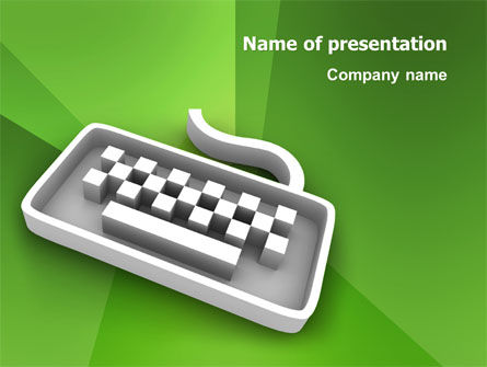 Computers: Gray Keyboard On The Green Background PowerPoint Template #03003