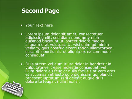 Gray Keyboard On The Green Background PowerPoint Template, Slide 2, 03003, Computers — PoweredTemplate.com