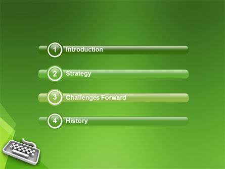 Gray Keyboard On The Green Background PowerPoint Template, Slide 3, 03003, Computers — PoweredTemplate.com