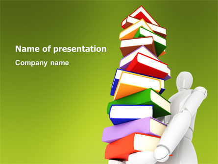 Books Stack In Hands PowerPoint Template