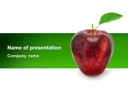 Red Apple PowerPoint Template, 03041, Agriculture — PoweredTemplate.com