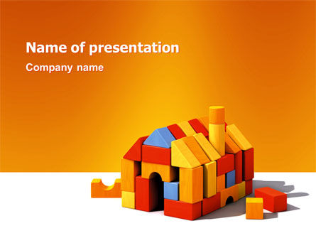 Construction: Color Bricks PowerPoint Template #03056