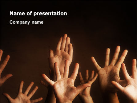 Education & Training: Hands Up PowerPoint Template #03060