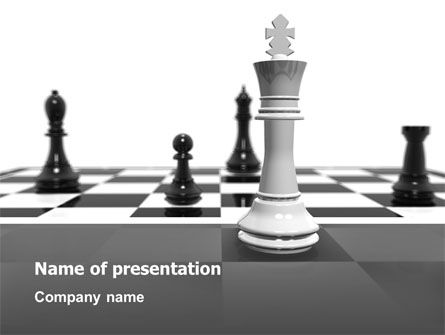 Business Concepts: Chess White Begin And Win PowerPoint Template #03069