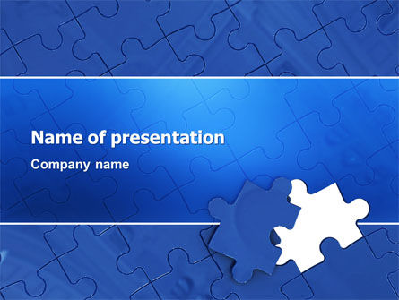 Business Concepts: Blue Jigsaw PowerPoint Template #03070