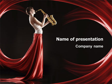 Art & Entertainment: Jazz Saxophone in Girl's Lips PowerPoint Template #03071
