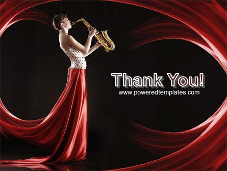 Jazz Saxophone in Girl's Lips PowerPoint Template Slide 20