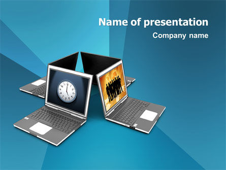 Long Distance Team Work PowerPoint Template, 03089, Technology and Science — PoweredTemplate.com