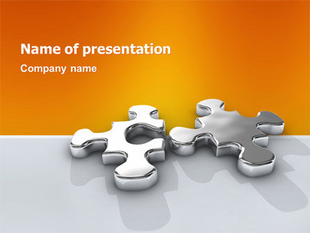 Business Concepts: Steel Puzzle PowerPoint Template #03097
