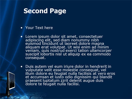 Dark Blue Monitor PowerPoint Template, Slide 2, 03103, Technology and Science — PoweredTemplate.com
