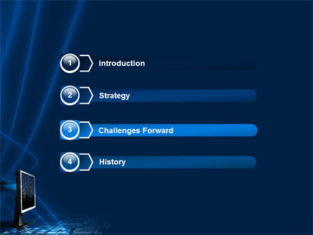Dark Blue Monitor PowerPoint Template, Slide 3, 03103, Technology and Science — PoweredTemplate.com