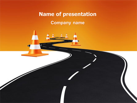 Road Work PowerPoint Template, 03104, Cars and Transportation — PoweredTemplate.com