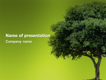 Nature & Environment: Green Tree On Light Olive Background PowerPoint Template #03109