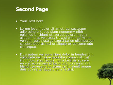 Green Tree On Light Olive Background PowerPoint Template, Slide 2, 03109, Nature & Environment — PoweredTemplate.com