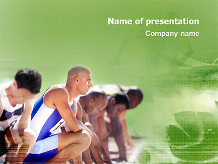 Sports: Sprinters At The Start Line PowerPoint Template #03117