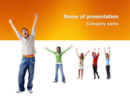 People: Hands Up Teenagers PowerPoint Template #03124