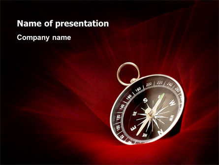 Business Concepts: Compass In A Dark Red Velvet PowerPoint Template #03130