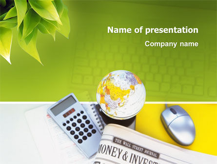 Financial/Accounting: Business World Newspaper PowerPoint Template #03134