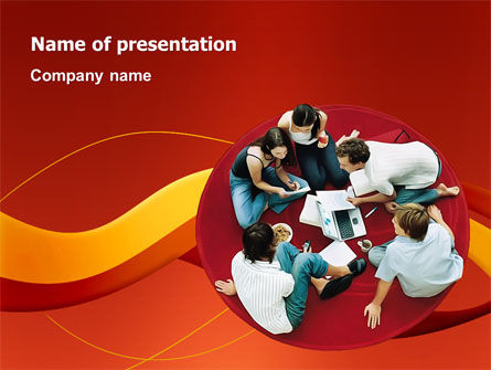 Young Team Work PowerPoint Template, 03135, Education & Training — PoweredTemplate.com