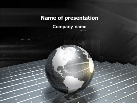Globe Of Steel PowerPoint Template, 03141, Global — PoweredTemplate.com