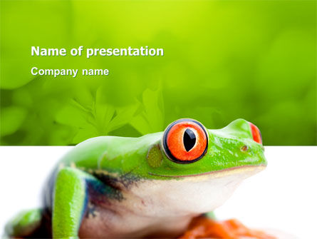 Animals and Pets: Tropische Groene Kikker PowerPoint Template #03160